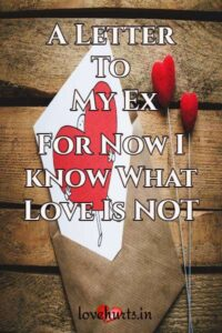 Read more about the article A Letter To My Ex – For Now I know What Love Is NOT